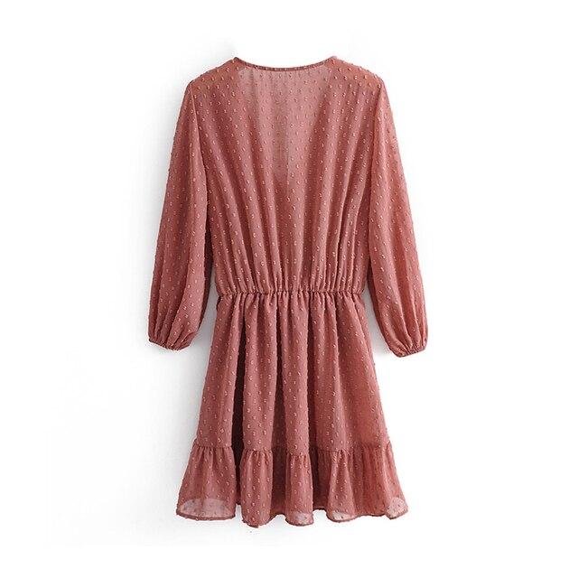 2020 Summer Women Ruffles Lace Chiffon Dress Boho Mini Beach Dress Three Quarter Sleeve Ladies Party Dresses Vestido 5