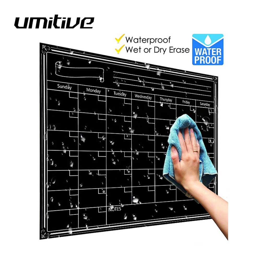 Umitive 1 قطعة المغناطيسي الجاف محو الثلاجة التقويم الأبيض سبورة سوداء مذكرة قائمة للقيام قائمة الشهرية اليومية مخطط منظم 2019
