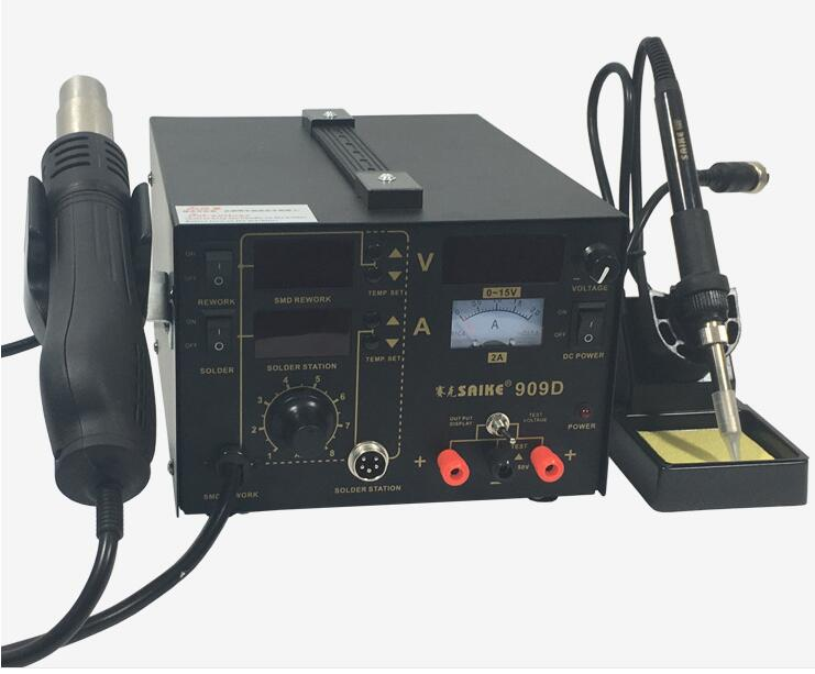 220V SAIKE Iron Hot Air Station Gun Gun 1 3 Rework Supply In Soldering 909D Soldering Air Hot Power