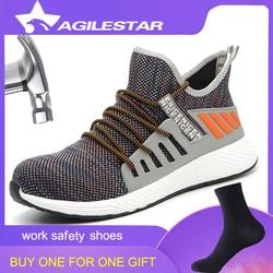 Sapatas de segurança do dedo do pé de aço dos homens luz respirável leve à prova de punção tênis antiderrapante industrial & construção sapatos de trabalho