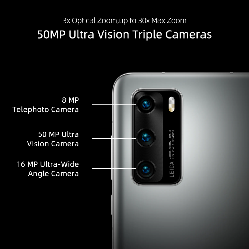 Google Play Global Version Huawei P40 5G Smartphone Kirin 990 8GB 128GB 50MP Ultra Version Camera 6.1 inch SuperCharge NFC