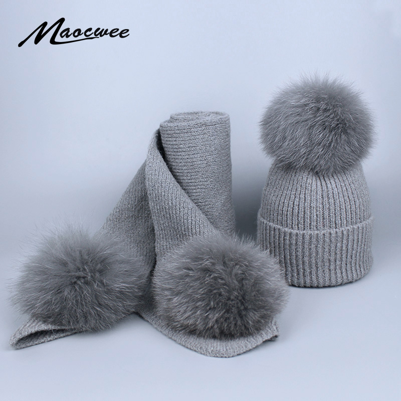 Women Children's Scarf Hat Set Pompoms For Knitting Real Fox Fur Ball Autumn And Winter Warm Girl Skullies Beanies High Quality