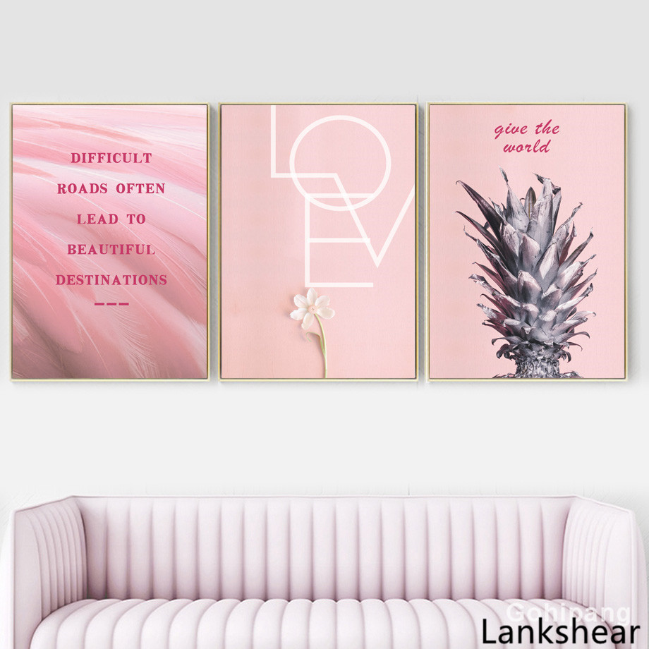 Pink Pineapple Flower Motivational Quote Wall Art Canvas Painting Nordic Posters And Prints Wall Pictures For Living Room Home in Painting Calligraphy from Home Garden