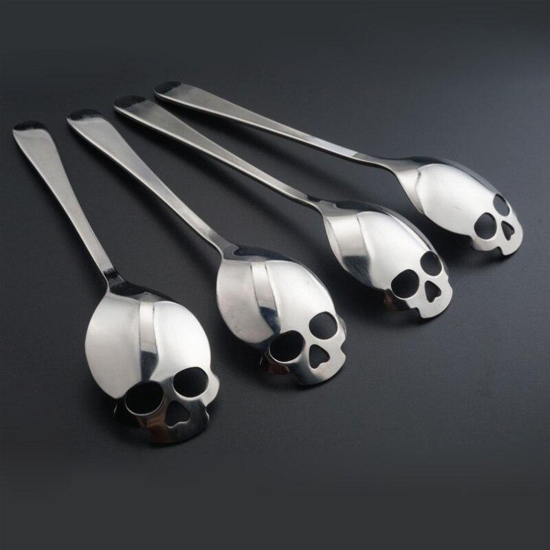 4 unids/lote cuchara con forma de cráneo café cucharadita batida café de mezcla de acero postre novedad vajilla para bebida herramientas de cocina koffielepeltjes