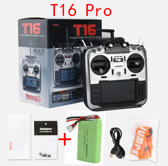 Jumper T16 Pro Hall Gimbal Open Source Built-in Module Multi-protocol Radio Transmitter 2.4G 16CH With 2S 7.4V 2000MAH Battery