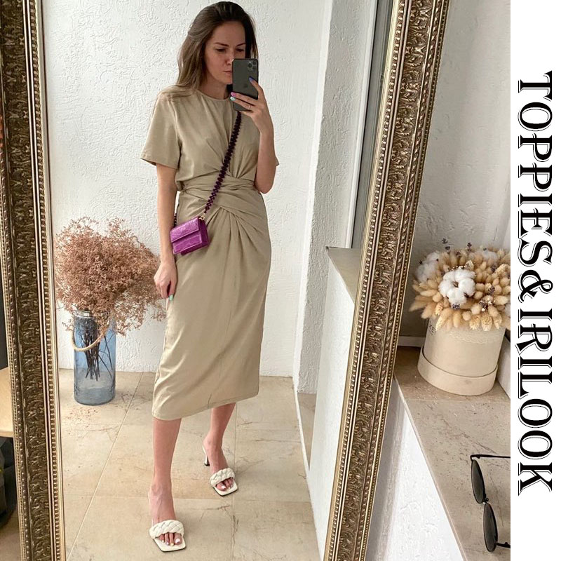 Toppies 2020 summer midi dress short sleeve knot t-shirt dress solid color korean womens clothing