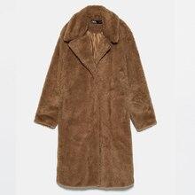 OMIKRON, новинка, модное повседневное женское пальто, Осень-зима, с отворотом, длинный рукав, для женщин, свободная, отбеленная шерсть, длинное пальто, Женский Тренч, casacos