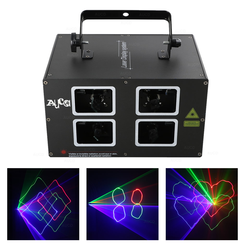 AUCD 4 Lens DMX 500mW RGB Colorful Beam Scan Projector Laser Lights Xmas Disco LED DJ Party Moving Ray Show Stage Lighting DJ4L