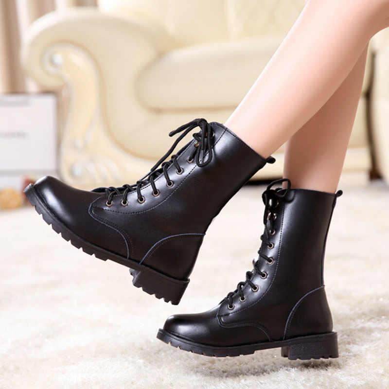 LZJ 2019 yağmur çizmeleri Su Geçirmez Ayakkabı Kadın Su Kauçuk Lace Up martin bilekli çizme Dikiş Katı Düz Ayakkabı Artı Boyutu 42