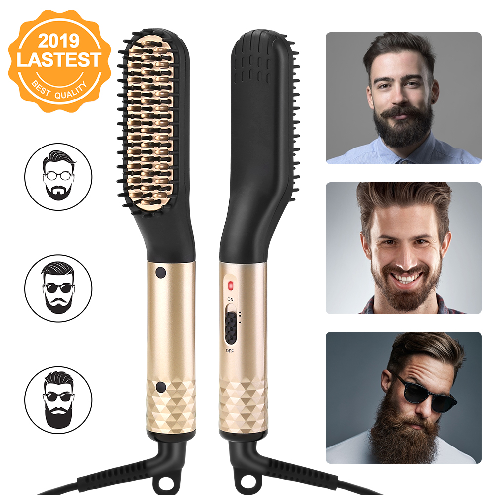 ANLAN Hair Comb Brush Beard Straightener Multifunctional Hair Straightening Comb Hair Curler Quick Beard Hair Styler For Men