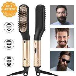 Anlan pente de cabelo escova barba straightener multifuncional alisamento de cabelo pente modelador de cabelo rápido barba modelador de cabelo para homem