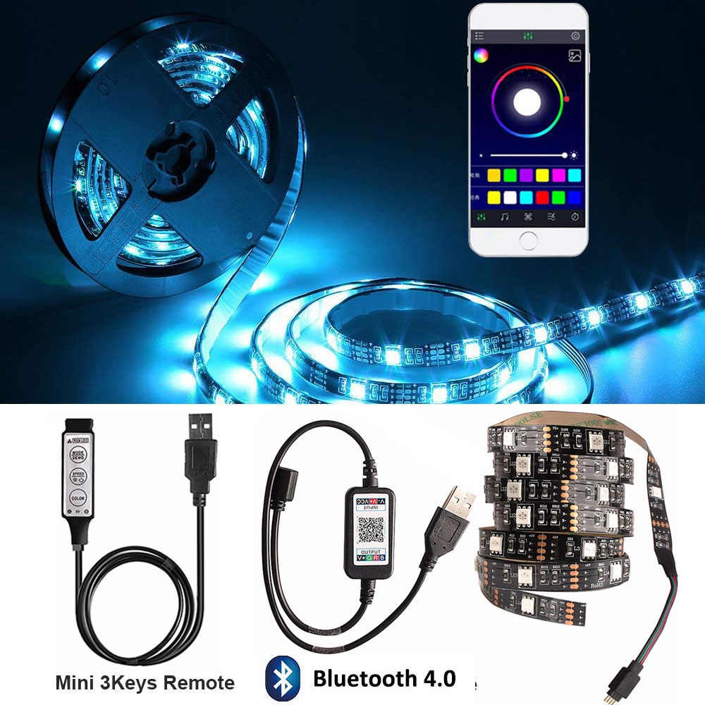 Bluetooth Controller Kitchen Lamp 5V Power USB LED Light Wardrobe Under Cabinet Lights RGB Diode Night Luces Led Lighting 2M 3M