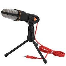 SF-666 microfone portátil profissional 3.5mm jack som com fio microfone estéreo com suporte tripé para desktop pc