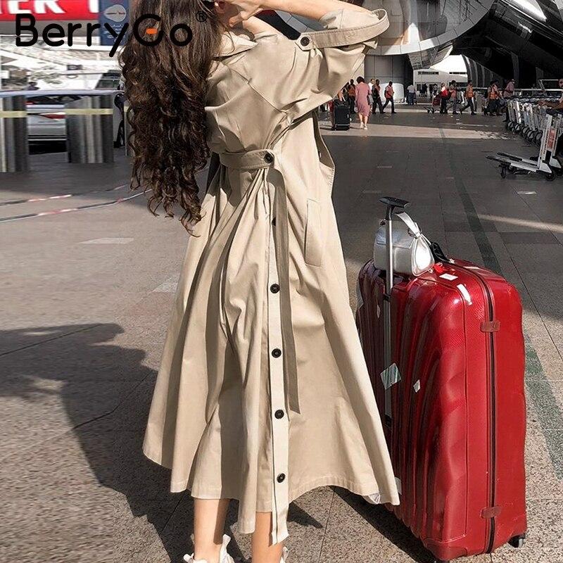 BerryGo Elegant sash belt   trench   coat women Double breasted autumn winter female long   trenches   Pocket ladies cotton blazer coats