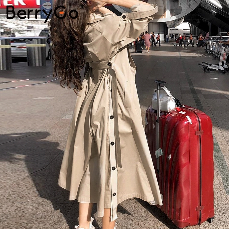 BerryGo Elegant Sash Belt Trench Coat Women Double Breasted Autumn Winter Female Long Trenches Pocket Ladies Cotton Blazer Coats