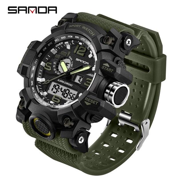 SANDA 742 Military herren Uhren Top Brand Luxus Wasserdichte Sport Uhr Männer S Shock Quarz Uhren Uhr Relogio Masculino 2019
