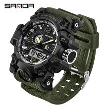 SANDA 742 wojskowe zegarki męskie Top marka luksusowe wodoodporny zegarek sportowy mężczyźni S Shock zegarki kwarcowe zegar Relogio Masculino 2019