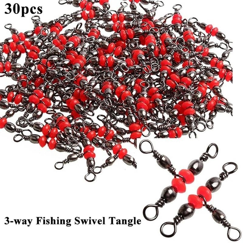 PULLINE 30 Pçs/lote 3 Way Barrel Giratória Pesca Snap Giro Anel Conector de Linha com Contas Acessório De Pesca Anzol Isca