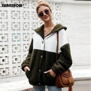 Image 4 - XUANSHOW 2019 Kış Kadın Coat Kapşonlu Gevşek Moda Uzun Kollu Kabarık Splice Kadın Üst Hoodies Sıcak Giysiler Tutmak S XL