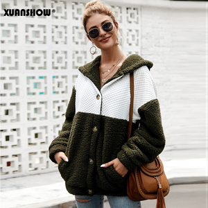 Image 4 - XUANSHOW 2019 Winter Women Coat Hooded Loose Fashion Long Sleeve Fluffy Splice Female Top Hoodies Keep Warm Clothes S XL