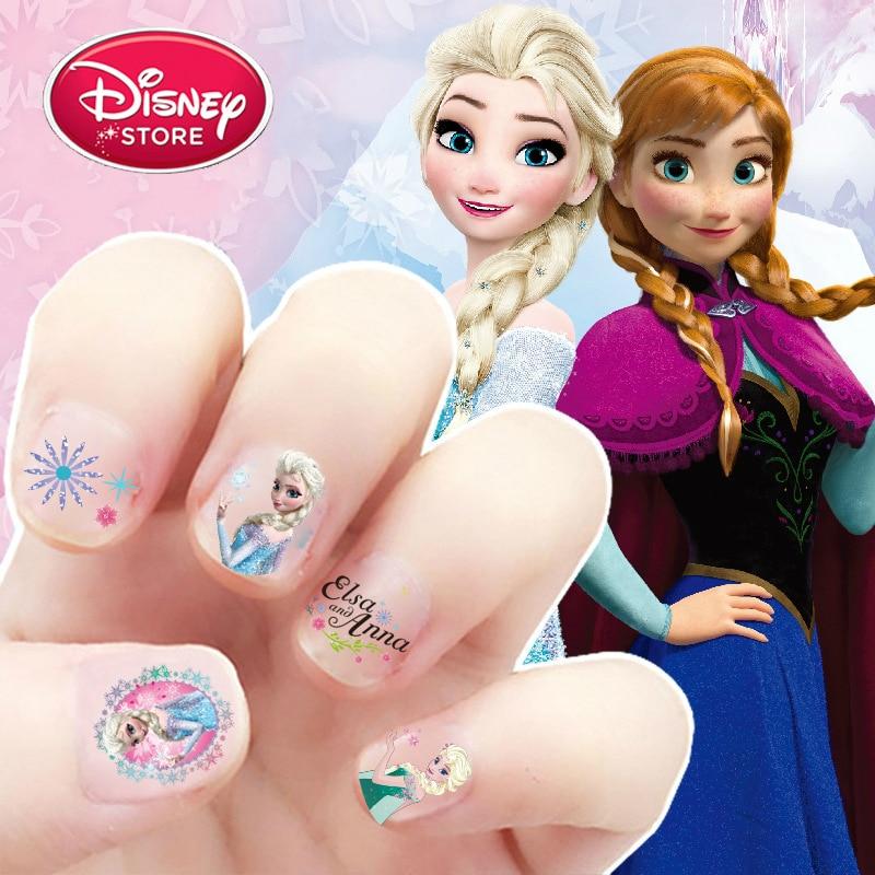 Disney Princess Nail Sticker Children Baby Kids Makeup Toys Disney Frozen Elsa Anna Sofia Snow White Mickey Minnie Sticker Gift
