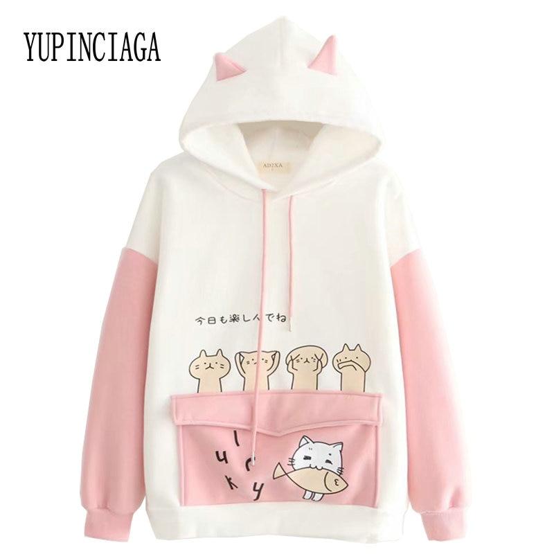 Women Harajuku Cartoon Print Patchwork Funny Hooded Sweatshirt 2020 Spring Loose Long Sleeve Hoodies Teen Plus Velvet Pullovers
