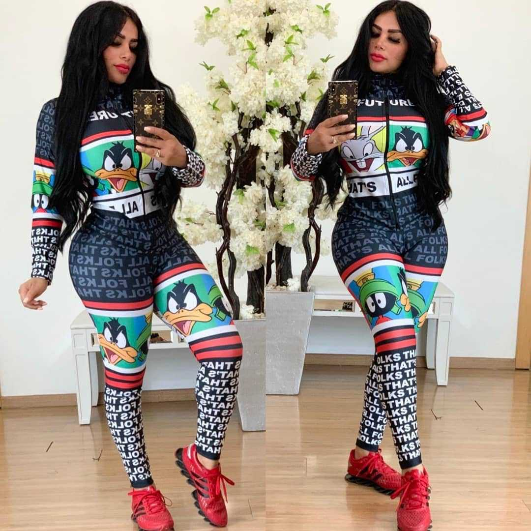 African Style Long Style Zipper, Fixed Seal And Slim Body Jumpsuit HM6161