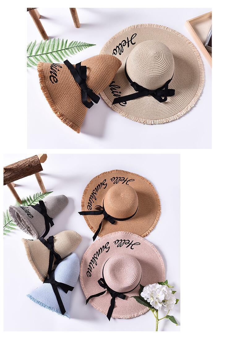 H820e657157d64421b06d55a1b5053349u - Handmade Weave letter Sun Hats For Women Black Ribbon Lace Up Large Brim Straw Hat Outdoor Beach hat Summer Caps Chapeu Feminino