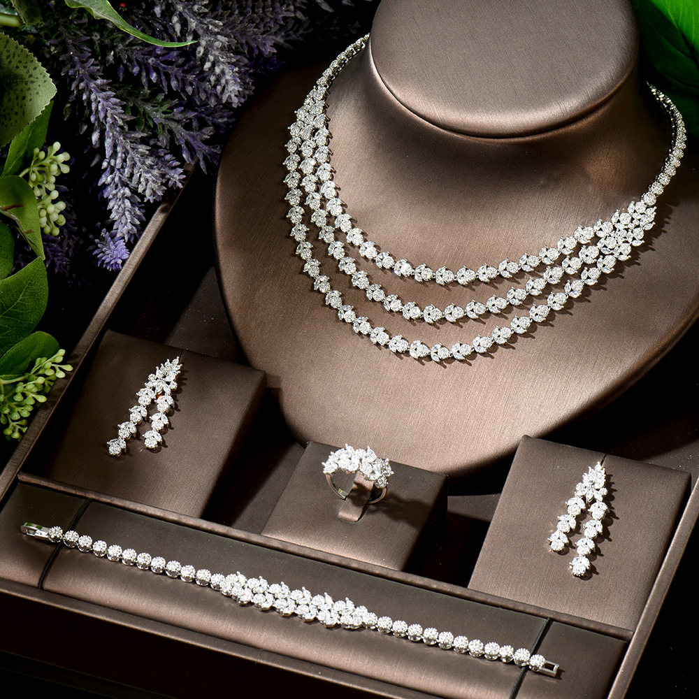 HIBRIDE Three Layers 4pcs Necklace and Earring Set Leaf Design Fashion Women Bridal Wedding Jewelry Sets collier femme N-1900