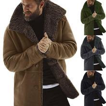Men Winter Fleece Thick Warm Coat Outwear Trench Leather Jacket Long Sleeve Fur
