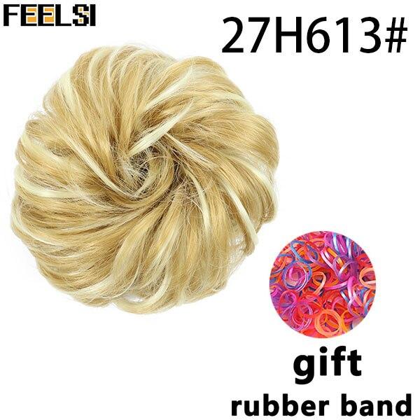 FEELSI синтетические гибкие волосы булочки кудрявые резинки шиньон эластичные грязные волнистые резинки для наращивания конского хвоста для женщин - Цвет: 4/30HL