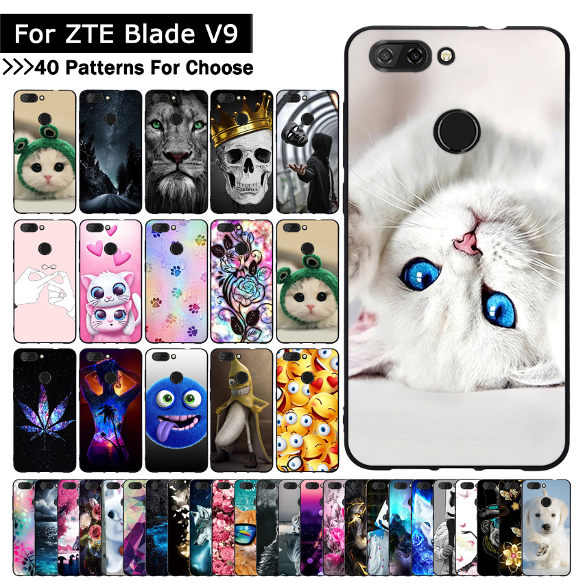 TPU Case For ZTE Blade V9 V 9 Animal Cat Patterned Cover For Zte Blade V9 5.7 Inch Soft Silicone Back Phone Cases Coque Fundas