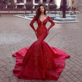 Smileven Sexy Mermaid Formal Evening Gowns Long Sleeve Dubai Arabic Saudi Arabian V Neck Dress Prom