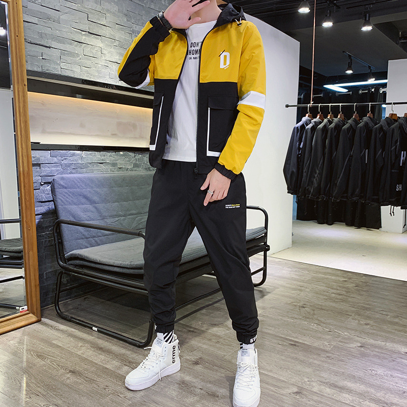 Autumn New Style Hooded Loose-Fit Coat MEN'S Labor Jacket Sports Leisure Suit INS