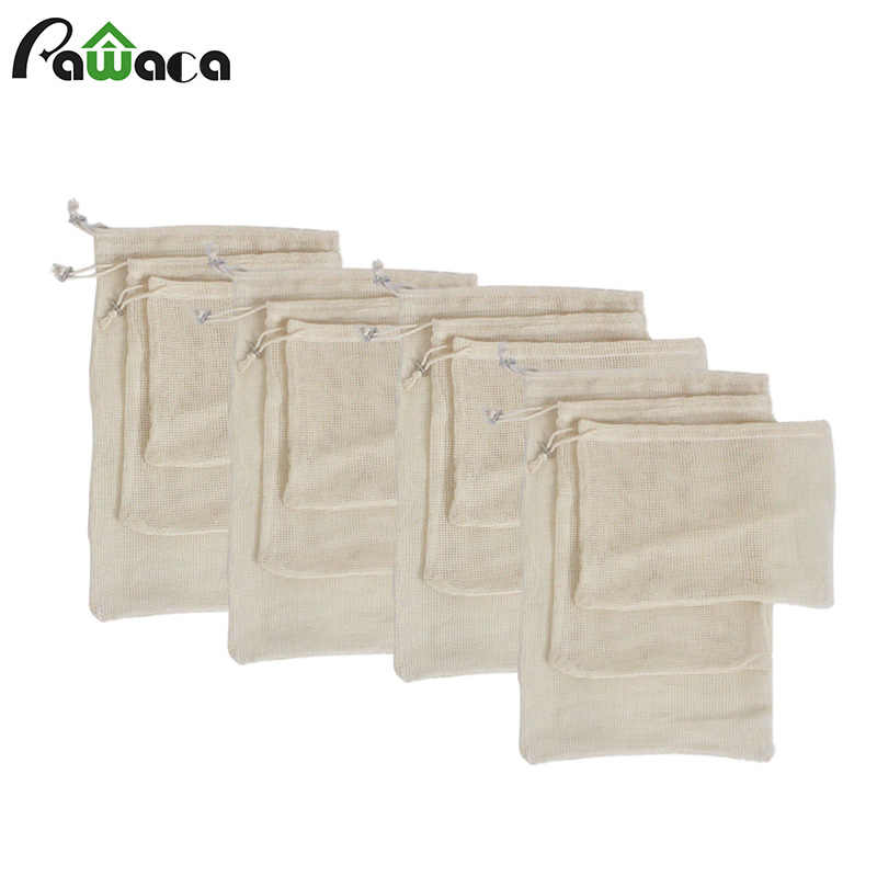 15pcs 12pcs Reusable Produce Bags Organic Cotton Washable Mesh Bags for Grocery Shopping Fruit Vegetable Organizer Storage Bag