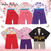 Estilo Kimono japonés para niños, niñas y niños de 5 tipos, Kimono de algodón para niños pequeños, mono, ropa, disfraz