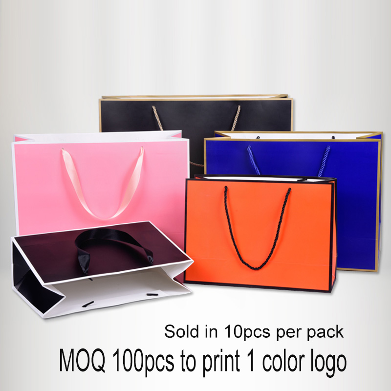10pcs Paper Bag With Frame Customize Your 1C Logo For Promotion Clothing Gift Bag Packaging Shopping Twill Wedding Birthday