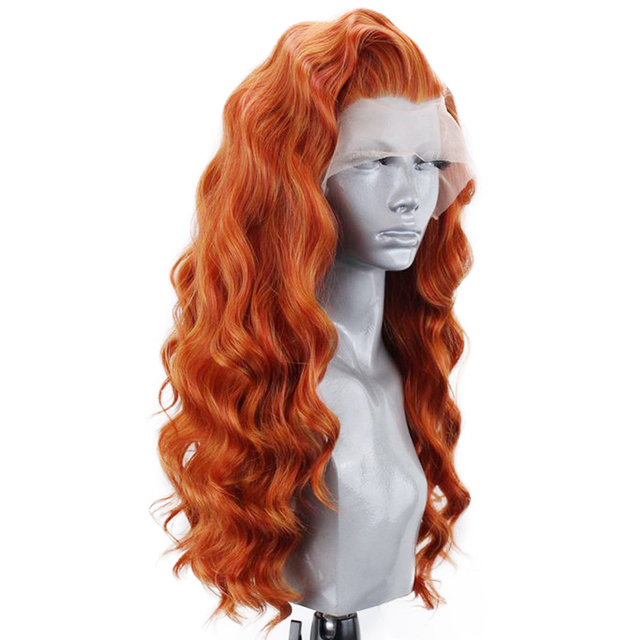 Charyzma Auburn pomarańczowy wysokiej temperatury włosy 26 cali długie głębokie fala peruki syntetyczna koronka peruka front dla kobiet przedziałek z boku