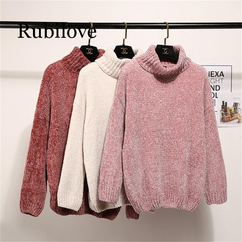 Spring Winter Women Sweaters And Pullovers Turtleneck Long Sleeve Casual Sweater Loose Solid Knitted Jumpers Sweter Mujer