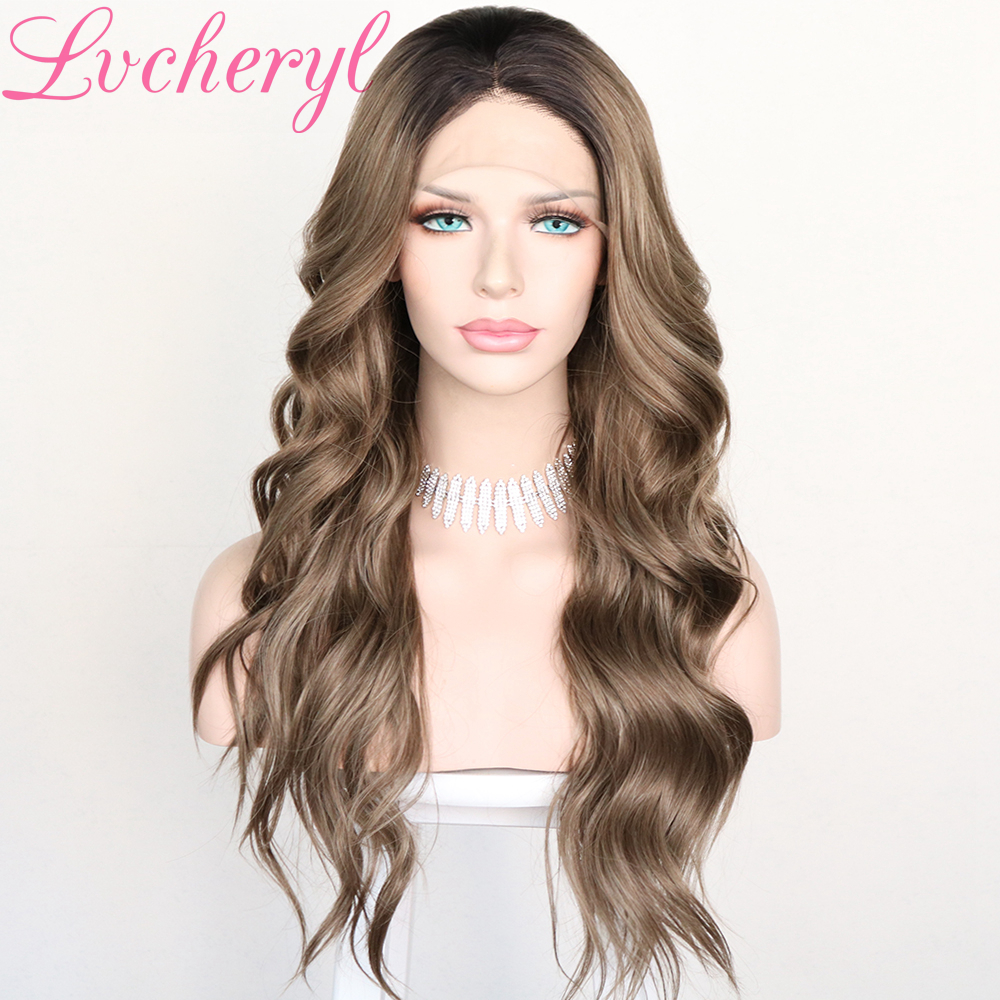 Lvcheryl Brown Lace Front Wigs Ombre Dark Roots Natural Looking Heat Resistant Glueless Long Wavy Synthetic Wig For Women