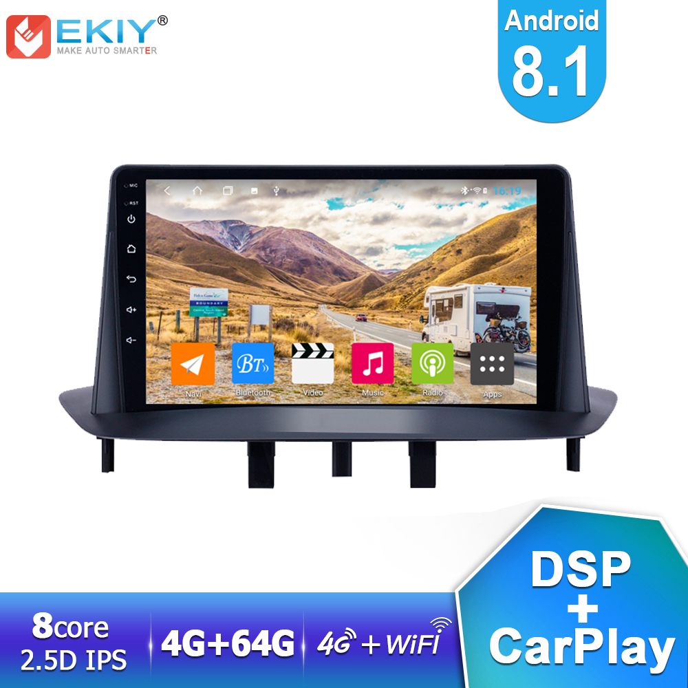 EKIY 4G LTE IPS DSP Android 8.1 Car Radio Multimedia Player 4G+64G For Renault <font><b>Megane</b></font> <font><b>3</b></font> 2008-2014 <font><b>GPS</b></font> Navigation Carplay BT DVD image
