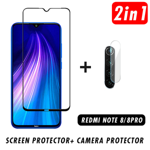 2 in 1 9D Phone Lens Protective Glass Camera Tempered Glass for Xiaomi Redmi Note 8 Pro Screen Protector for Redmi Note 8(China)