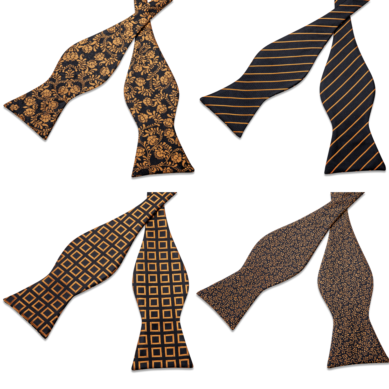 Adjustable Bowties Gold Floral Self Tie Bow Tie Set Pocket Square Wedding Tuxedo Cravat Bow Tie Formal Male Neckwear DiBanGu