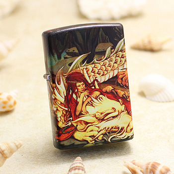 Genuine Zippo oil lighter copper windproof Beauty and dragon cigarette Kerosene lighters Gift With anti-counterfeiting code