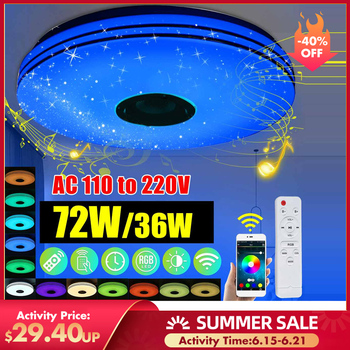 Modern RGB LED Ceiling Lights Home lighting 24W36W 72W APP bluetooth Music Light Bedroom Lamps Smart Ceiling Lamp+Remote Control 24w modern acrylic led ceiling light bluetooth speaker music player rgb ceiling lamp lights for living room bedroom lighting