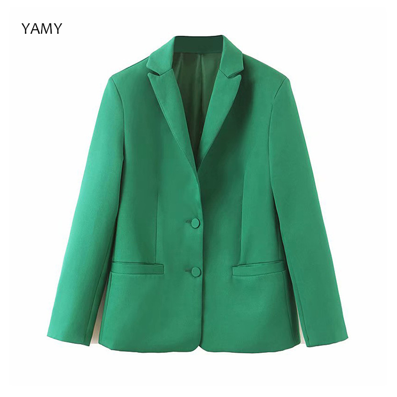 Blazers Coats Jackets Long-Sleeved Vintage Casual Womens Green Solid for Office Chic