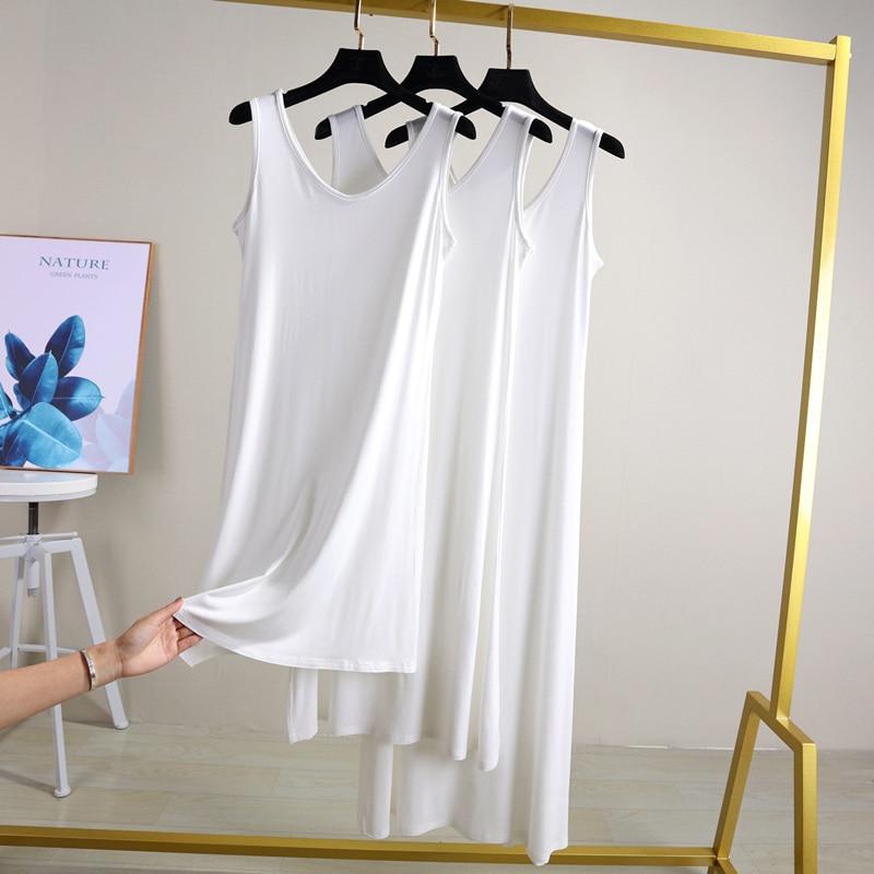 Women's Camisoles Full Slips Dress With Shoulder-straps Long Under Dress Solid Underskirt Inner Petticoat Height 80 To 120cm