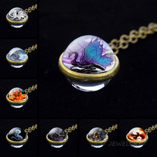 Evil Dragon Glass Ball Necklace Wing Pterosaur Pendant Cabochon King Mens Women Cool Jewelry Gift