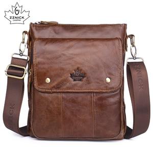 Image 1 - ZZNICK Genuine Cowhide Leather Men Bag Messenger Bags Handbags Flap Shoulder Bag 2020 Men Travel New Fashion Crossbody Bag