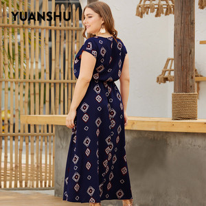 Image 5 - YUANSHU XL 4XL Plus Size Bohemian Print Long Dress Women O Neck High Waist Oversized Dress Holiday Party Large Size Dress